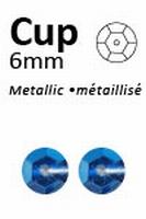 Pailletten 6mm facon, metal blauw 313  5 gram
