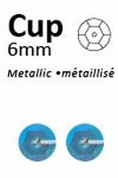 Pailletten 6mm facon, metal blauw pastel 413  5 gram
