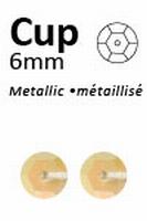 Pailletten 6mm facon, metal donkergeel 402