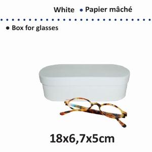 Papier-mache brillendoos van wit karton art. 16711-106  18 cm