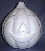 Styropor pompoen 15 cm, met gezicht art. 610147