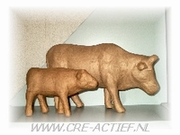 Papier-Mache Kalf/Koetje DH 25x16cm