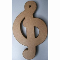 Papier-mache Muzieksleutel/Solsleutel art 790284-901 21 cm